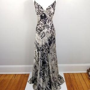 Carman Marc Valvo 100% Silk Beaded Gown 12-14